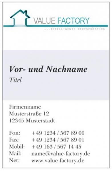 Value Factory Business-Card Vorderseite